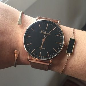 Rose Gold Geneva Watch Large Black Face NEW!